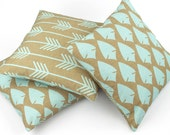 Arrow and Bow Pillow Cover 18x18, Tribal Pillow, Rustic Decor Pillow, Blue and Brown, African Pillow, Throw Pillow, Reversible, Aerohead