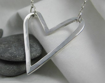 Sterling Silver Hammered Heart Necklace - Full UK Hallmarks - CMcB Jewellery