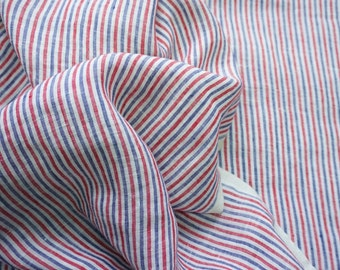 Pure soft linen fabric with  regular stripes/ light weight