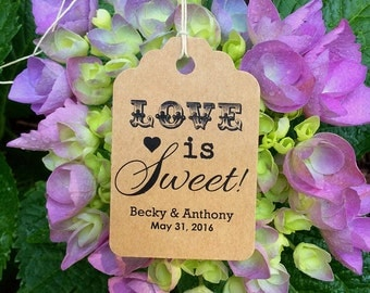 Starts at 50 Personalized Printed KRAFT WEDDING FAVOR Tags Love is sweet