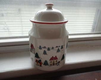 Jamestown China Joy of Christmas Vintage Cookie Jar Canister