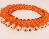 Beaded Sunshine Bracelet  from Meuki Seed Beads Orange white grey for her Halloween