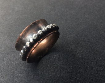 Rustic, Textured Copper and .925 Silver Spinner Ring, Size 7.75