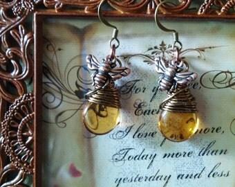Autumn Honey Bee Earrings