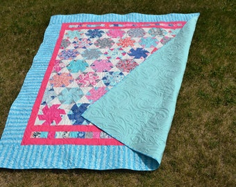 Patchwork Quilt, Lap Quilt Twin Blanket, Sofa Coverlet, Bedspread, Pink Blue Dorm Room Decor