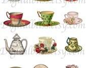 Digital Download, Digital Teacup Images, Vintage Tea Cups, Tea Cup Clip Art, Digital Download Images, Victorian Tea Cups, High Noon Tea