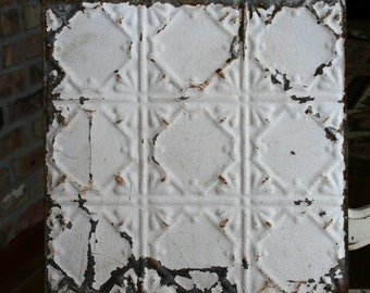 "12"" Antique Tin Ceiling Tile - Wall Tin -- Rusty Cream Paint with Pretty Repeating Pattern"