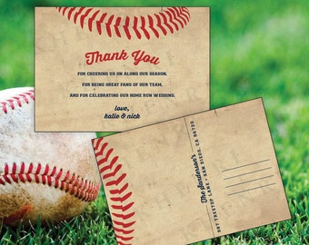 Baseball Thank You Card - wedding - digital - baseball card - baseball ticket - DIY