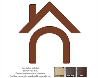 "Home Side 48"" tall metal wall art - choose your color - custom logo wall art"
