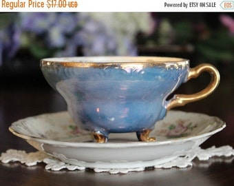 Iridescent Teacup, Cup and Saucer, Pearlized Teacups, Tri Footed, Unmarked Japanese Tea 13576