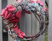 Rustic Grapevine Wreath, Red Ribbon, Gold Glittered Pinecones, Gold Stars, Sage Green trim, Red and White Berry Trim, Glitter Dust
