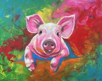 PSYCHEDELI  Vicki Boyd Original fine art, large 24x30 acrylics.  Subject - psychedelic pig, pork
