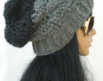 Winter Beanies Long Slouchy Hats Black And Grey Crochet Knit Beanies Women's hats Teen Girls Beanies Men's Headwear