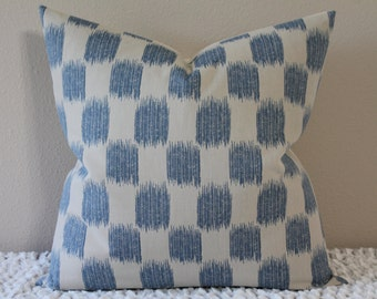 """Small Scale Ikat Print in Blue and Creamy/Beige - 18"""", 20"""", 22"""" or 24"""" Decorative Designer Pillow Cover"""