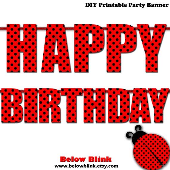 Ladybug Happy Birthday Banner 1st Birthday Printable Banner