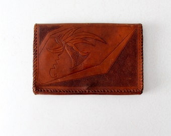 FREE SHIP  1920s Art Nouveau tooled leather clutch, vintage handbag