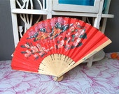 Vintage Japanese Style Folding Hand painted Fan Lufthansa Airline / Collectible Fan, Vintage fan, Made in Japan