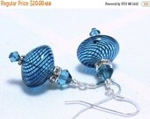 ON SALE Teal Blue Blown Glass and Swarovski Crystal Earrings