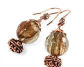ON SALE Sunstone Quartz and Copper Earrings, Copper Glitter, Fall Earrings, Crystal Hydro Quartz, Gold Sand
