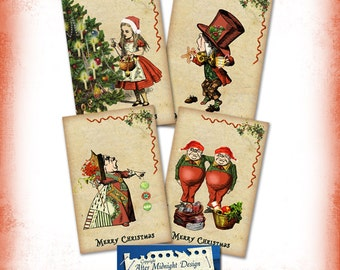 Alice in Wonderland Christmas Cards Tags Colourful alice in wonderland Ephemera great for notecards, tags an scrapbooking