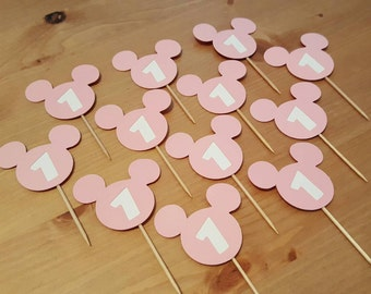 Minnie Mouse Cupcake Toppers: 1st Birthday Cupcake Toppers, Food Decorations