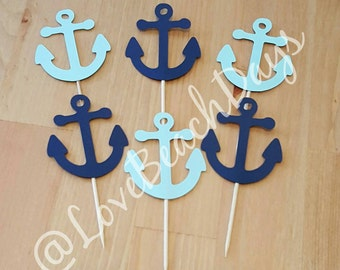 Ship Anchor Cupcake Toppers, Nautical Party Decorations, Candy & Dessert Table, Beach Weddings, Table Decor