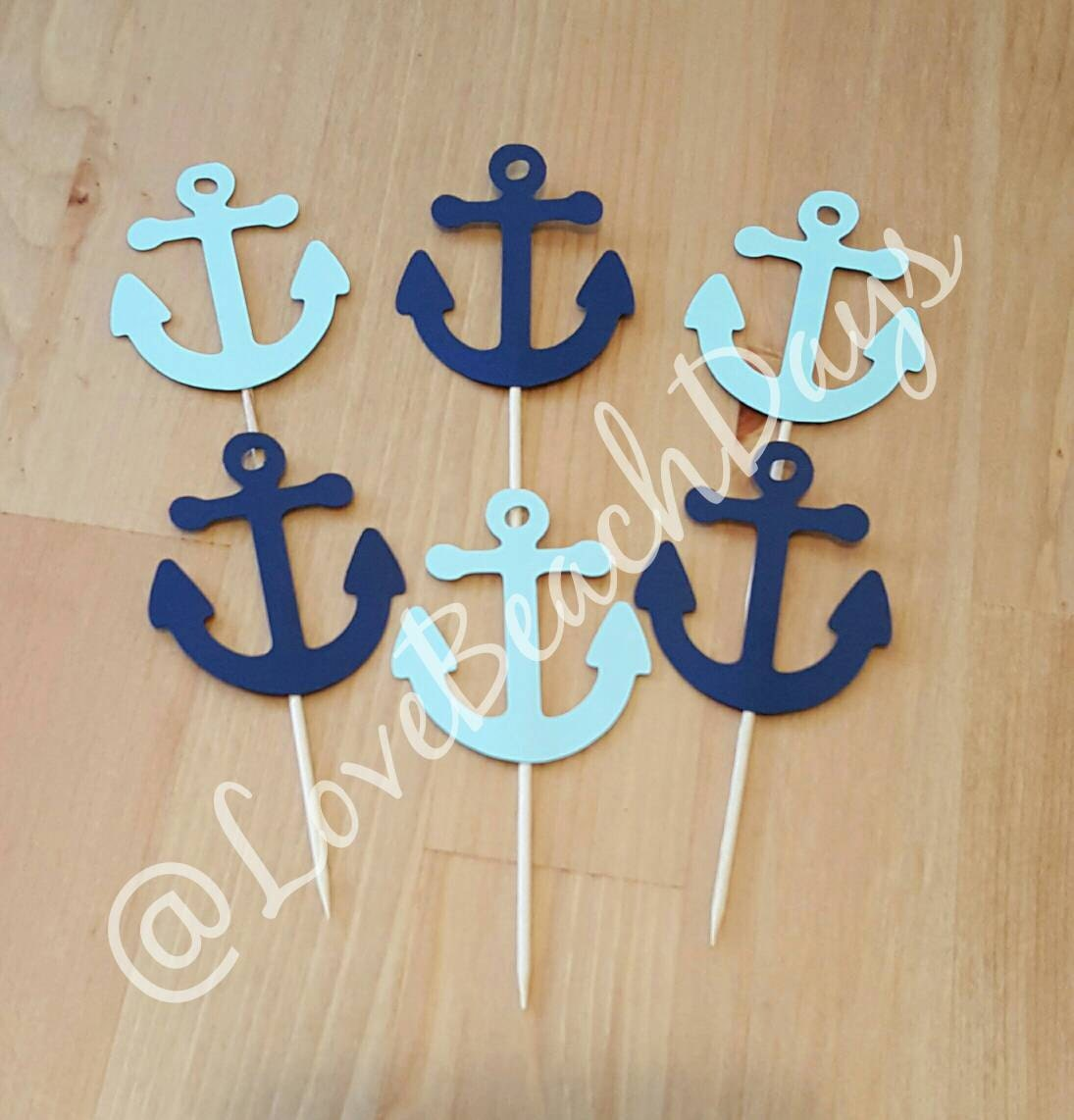 Ship anchor cupcake toppers nautical party decorations for Anchor decoration party