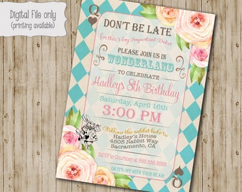 Alice in Wonderland Birthday Party Invitation, Alice in Onederland Birthday tea party invitation, Vintage floral Mad Hatter invite