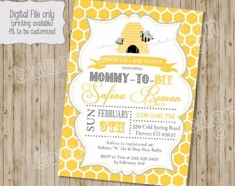 Bee Baby Shower invitation, Mommy to Bee, Bee shower, baby shower, bee baby shower, mommy to bee shower, honeycomb