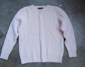Vtg Baby Pink Wool Ribbed Pullover Sweater 80s 90s Size M Small Medium