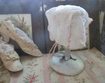 Vintage Baby or Doll Bonnet Hat White With Pink Floral Hand Embroidery Lace & Covered Drawn Work Buttons C113
