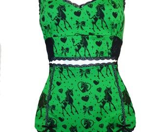Green Unicorns and hearts retro underwear twinset