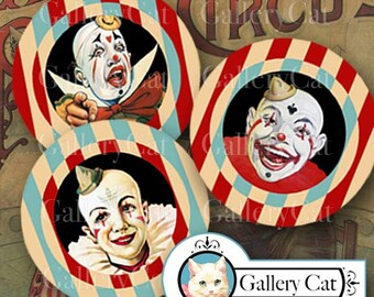 Vintage CIRCUS CLOWNS Digital Collage Sheet 2.5 Inch Circles Instant Download for Cupcake Toppers Pocket Mirrors Pins Buttons GalleryCat