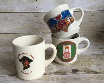 Retro Set of Boy Scout Mugs - Set of Three - Camping -