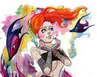 Rainbow Fish Delirium Sandman Watercolor illustration Art print Carla Wyzgala Carlations