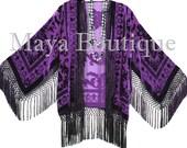 Dark Purple Fringe Jacket Burnout Velvet Kimono Short Flapper Maya Matazaro