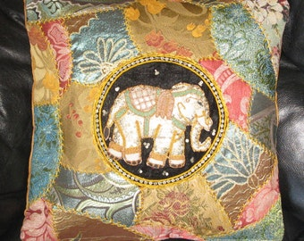 Embroidered  Crazy Quilt Elephant Pillow cover .Unique 16x16 cushion