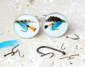 Fly Fishing Cufflinks, Fishing Cufflinks, Fishing Fly Cufflinks, Gifts for Fishermen, Fishing lure cufflinks,Fishing Gifts, gifts for him