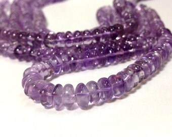 A Grade 5 x 7 mm Beautiful Natural Amethyst Smooth Rondelle Beads - 10 Inch - February Birth Stone (OB0170W120)