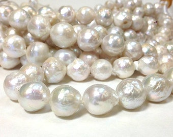 Full strand 12 to 16 mm Freshwater Pearl Potato Beads - White - Bridal and Bridesmaid Pearl (LG9525W200)