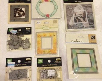 FRAMES Metal Charms and Photo Corners - 8 pc lot assorted Scrapbooking Supplies - metal sculptured