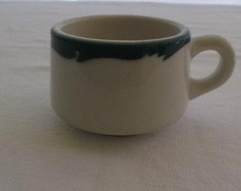 Vintage Restaurant Ware Cup, Coffee Mug, Syracuse China, Green Wave