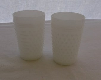Vintage Glasses, Milk Glass Hobnail Tumblers, 2 Pieces