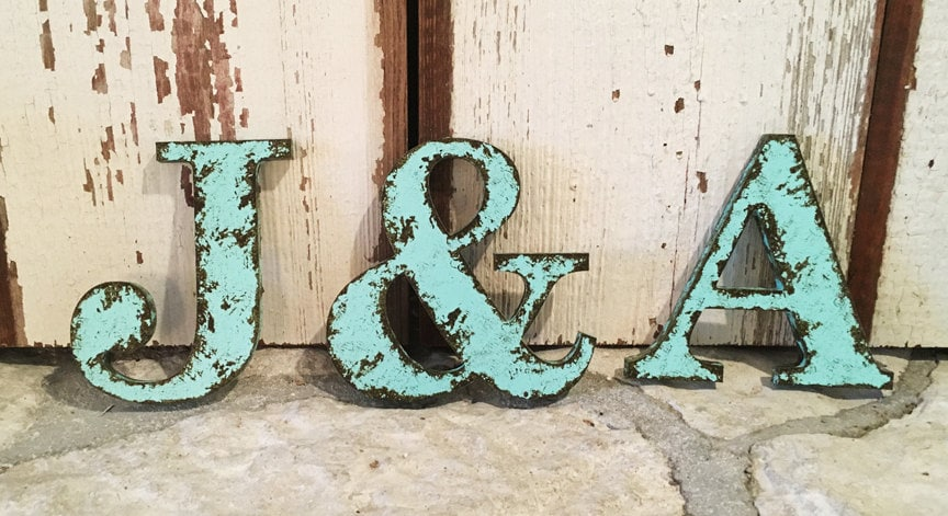 Rustic letter 9 5 tall name personalize ampersand for Ampersand decor
