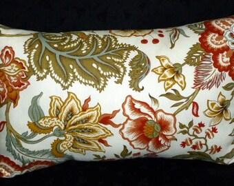 Throw Pillow, Decorative Pillow, Accent Pillow, Lumbar Pillow - One 18inch x 12inch Lumbar - Rust, Green and Ivory