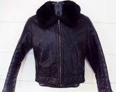 Leather BOMBER Jacket Fur Collar MOTO Biker Jacket Leather Cropped Jacket Womens Small