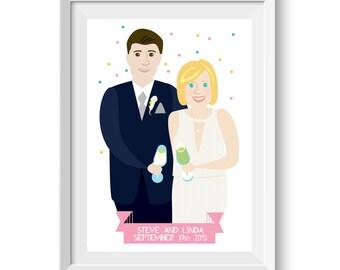 Custom Couple Artwork Bespoke Wedding Portrait