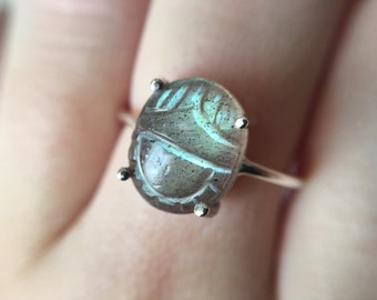 Carved Scarab Labradorite Ring in sterling silver - sterling silver labradorite ring - scarab beetle ring - egyptian jewelry