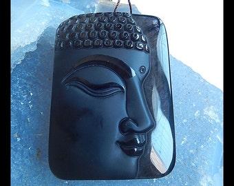 Carved Gemstone Obsidian Pendant Bead,49x36x9mm,30.6g
