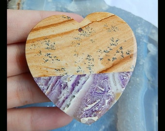 Sale Natural Stone Picture Jasper,Purple Lace Agate, White Stone Intarsia Heart Pendant Bead,48x7mm,27.3g(a0816)